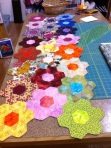 Grandmother's Flower Garden table runner by Barb Jarman, Hand pieced and hand quilted